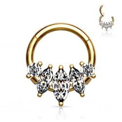 Złoty clicker z podłużnymi kryształkami PK571 C