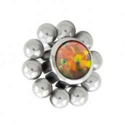 Tytanowa nakrętka - opal z kulkami