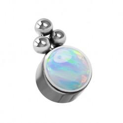 Tytanowa nakrętka - opal z trzema kulkami