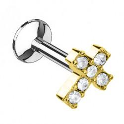 Labret - krzyżyk z kryształkami