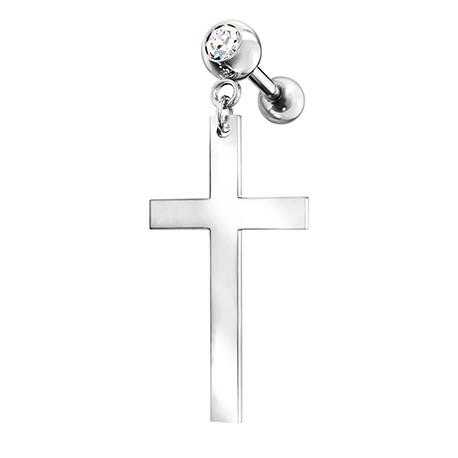 Kolczyk do ucha - wiszący krzyż