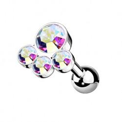 Kolczyk do ucha z czterema kryształkami KU599 A