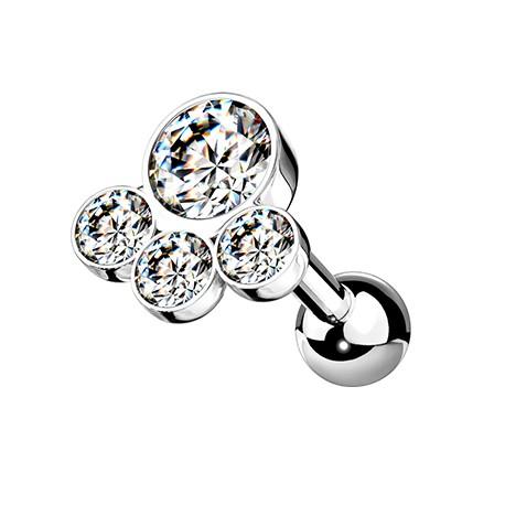 Kolczyk do ucha z czterema kryształkami