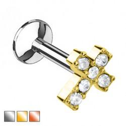 Labret - krzyżyk z kryształkami PW541