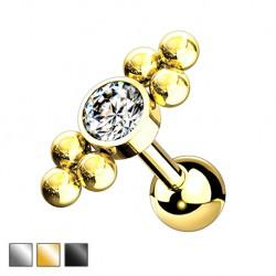 Kolczyk do ucha - kryształek z kuleczkami KU583