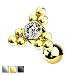 Kolczyk do ucha - kryształek z kuleczkami KU579