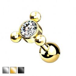 Kolczyk do ucha - kryształek z kuleczkami KU580
