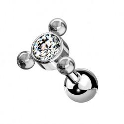 Kolczyk do ucha - kryształek z kuleczkami