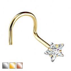 Kolczyk do nosa z kryształową gwiazdką - zakręcony PN505