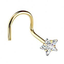 Kolczyk do nosa z kryształową gwiazdką - zakręcony