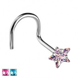 Kolczyk do nosa z kryształową gwiazdką - zakręcony PN506