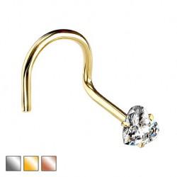 Kolczyk do nosa z kryształowym serduszkiem - zakręcony PN507