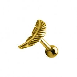 Kolczyk do ucha - Złote piórko KU629