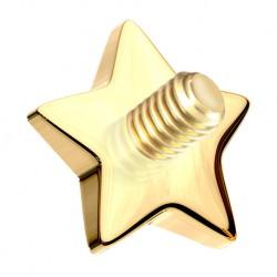 Nakrętka na microdermal - z 14K złota, gwiazdka