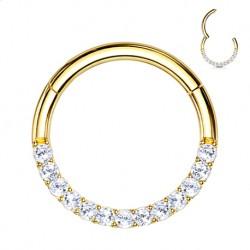 Clicker ze złota 14K, z kryształkami PK704