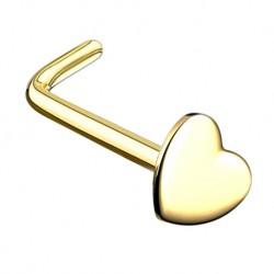 Kolczyk do nosa - Złoty z serduszkiem PN709