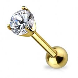 Złoty kolczyk z okrągłym kryształkiem KU703