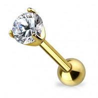 Złoty kolczyk z okrągłym kryształkiem