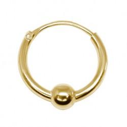 Kolczyk do ucha - Złote kółko z kulką PK608 B