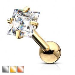 Srebrny kolczyk z kryształkiem - kwadracik KU586