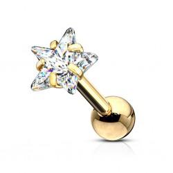 Srebrny kolczyk z kryształkiem - gwiazdka