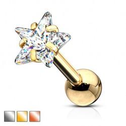 Srebrny kolczyk z kryształkiem - gwiazdka KU587