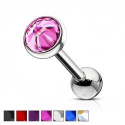 Kolczyk do ucha - Okrągły kolorowy kryształek KU525