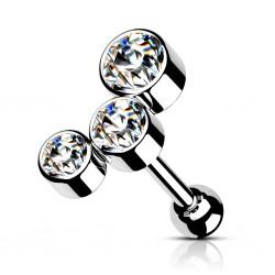 Kolczyk do ucha - Trzy kryształki
