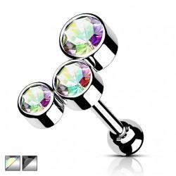 Kolczyk do ucha - Trzy kryształki KT524