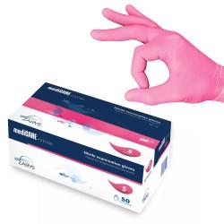Rękawice nitrylowe bezpudrowe różowe HA128