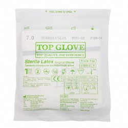 Rękawice jałowe bezpudrowe lateksowe TOP GLOVE