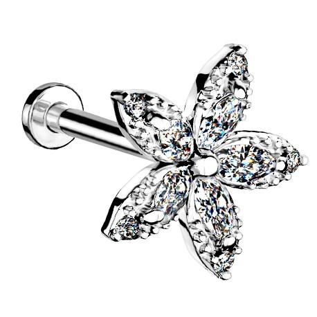 Labret z kryształowym kwiatkiem
