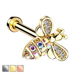 Labret z kryształową pszczółką PW553